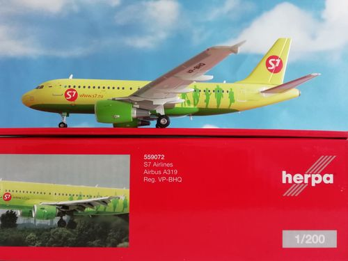 Herpa Wings 1:200 559072  S7 Airlines Airbus A319 - VP-BHQ