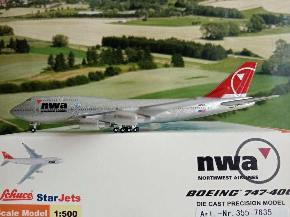 "Herpa Wings 1:500 Northwest Airlines Boeing 747-400 /""World Plane #world-of-wings"