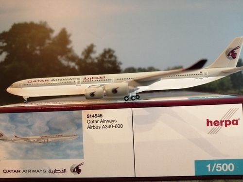 herpa wings 1:500 Qatar Airways Airbus A340-600 #514545 **RARE**