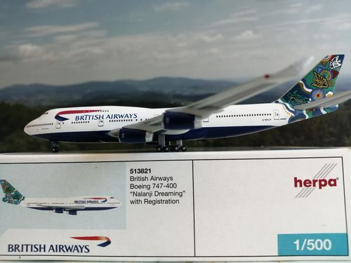 "Herpa Wings 1:500 513821 British Airways B747-400 ""Nalanji Dreaming"" HWC """"RARE*"