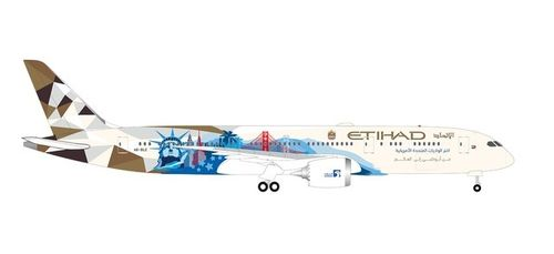 "534543 Herpa Wings 	Etihad Airways Boeing 787-9 Dreamliner – A6-BLE ""Choose the USA"""