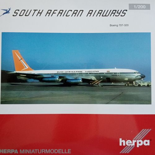 "Herpa Wings 1:200 South African Airways B707-320  ZS-CKC ""Johannesburg"" 558693"